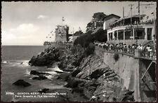 """cartolina GENOVA-nervi-passeggiata a mare,torre gropallo e """"la marinella"""""""