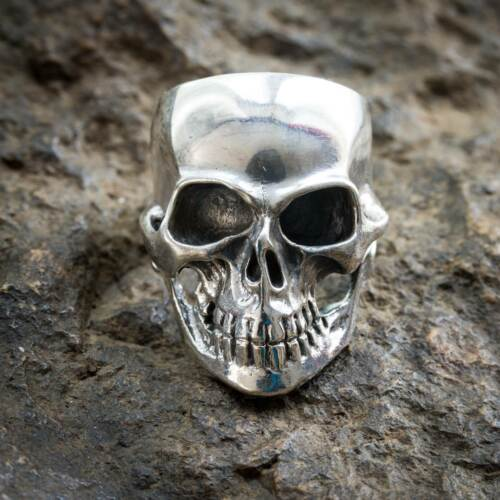 Anillo de calavera de plata esterlina 925 metal biker gótico punk rock feeanddave