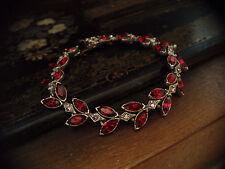 Vintage Navette Marquise Ruby Red & Light Amethyst Crystal  Bracelet