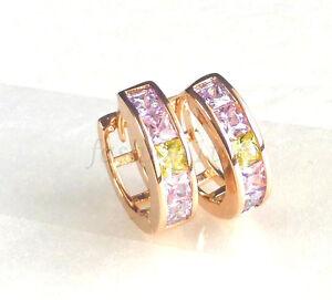 Women-Small-14mm-Huggie-Hoop-Earrings-Simulated-Diamond-18K-Gold-Plated-UK