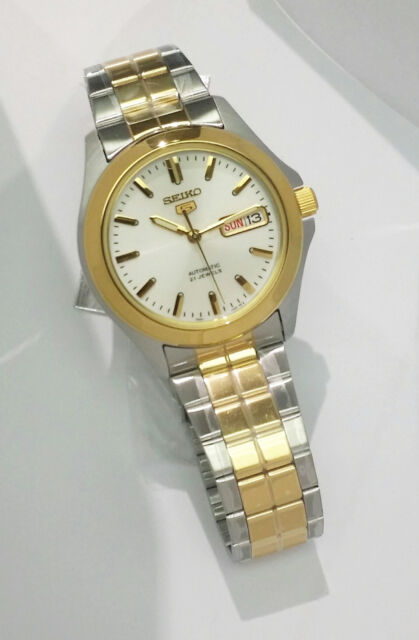 Seiko Analog Casual Mens 5 Automatic Gold Silver Watch SNKK94K1 eBay