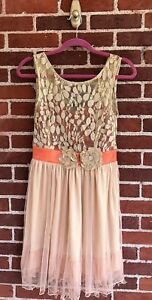 Modcloth-Ryu-Coral-Orange-Lace-Dress-Size-S-NEW