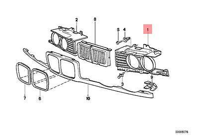Genuine BMW 5 Series E34 Headlight Front Lamp Grille Left OEM 51138186441