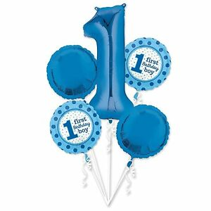 Image Is Loading 1st BIRTHDAY Girl BALLOON Bouquet 5 Foil Helium