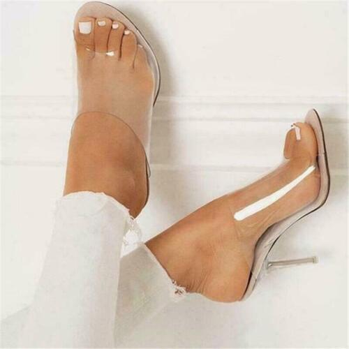 Women PVC Mules Slippers Transparent High Heels Clear Fashion Sandals Slides HOT