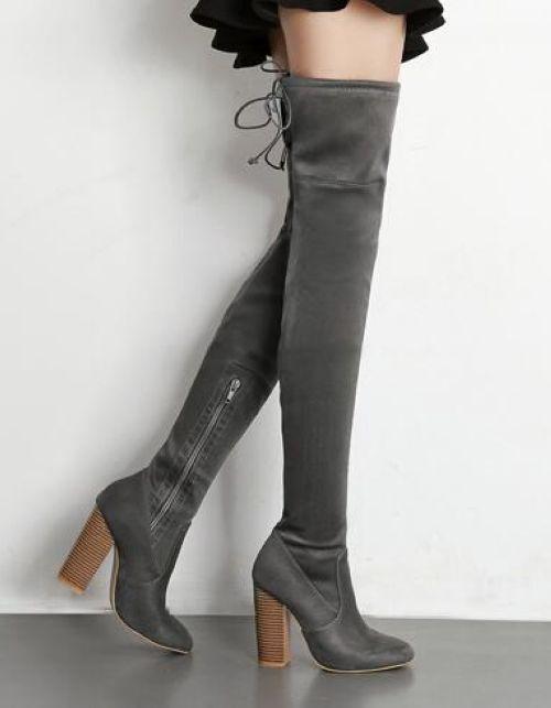 botas gris suave rodilla muslo talón 10.5 cm cómodo 9464