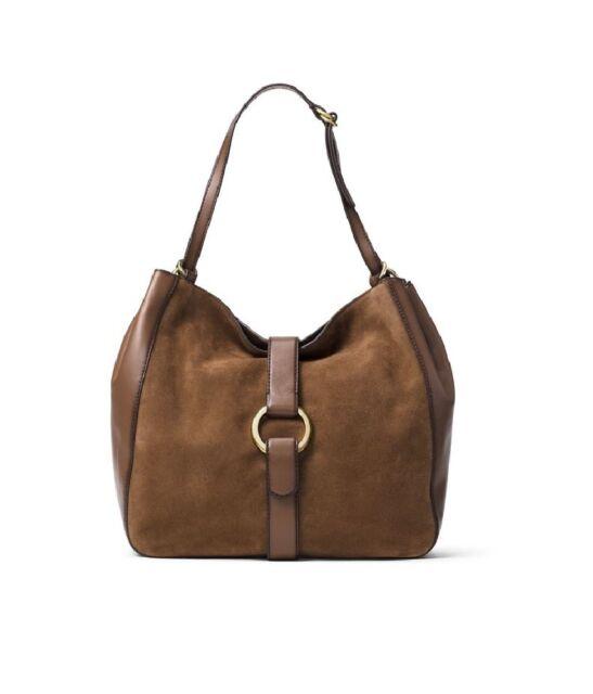 6ca9332b717c Michael Kors Quincy Dark Caramel Large Leather Suede Shoulder Tote Bag