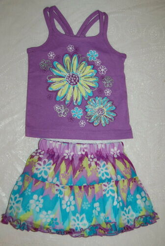Toddler Girl Outfit RUFFLE SKIRT Tank Top PURPLE TURQUOISE GREEN Flower 18 24 MO