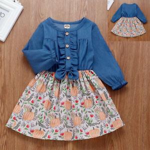 Toddler-Kids-Baby-Girl-Ruffles-Halloween-Pumpkin-Denim-Long-Sleeve-Dress-Outfit