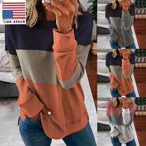 Womens-Ladies-Patchwork-Casual-Loose-Sweatshirt-Tops-Long-Sleeve-Pullover-Blouse