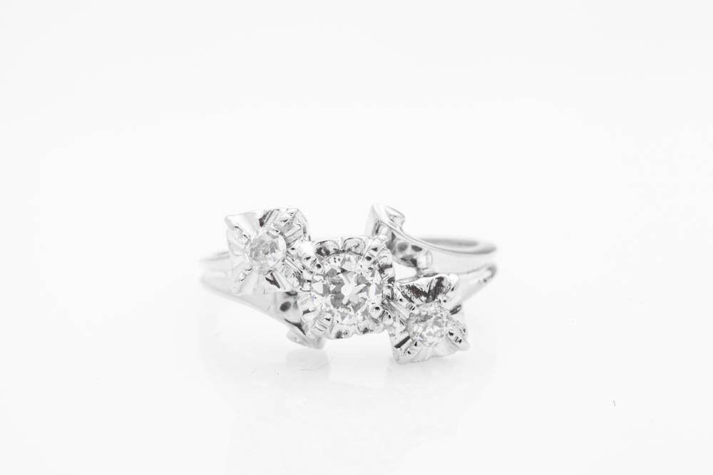 Antique 1940s .50ct VS H Old Euro Diamond 14k White gold Ring