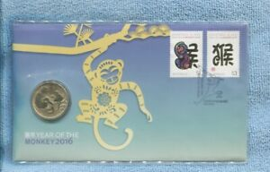 2016 Australian Lunar Year of the MONKEY  Stamp $1 Coin PNC