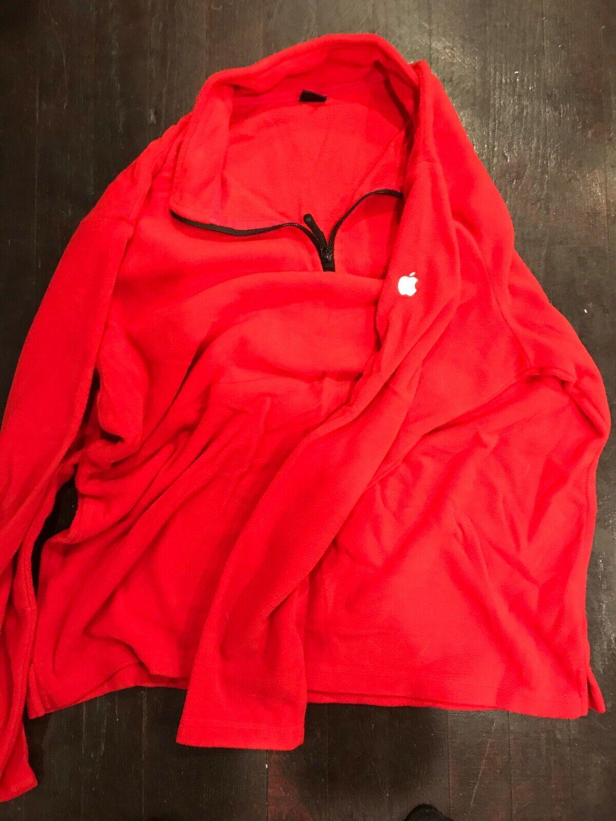 Apple Retail Logo Fleece Pullover Jacket Apparel Red Blue