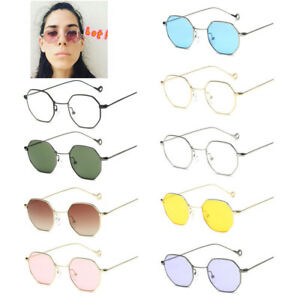 Fashion-Men-Women-Hexagon-Square-Sunglasses-Mirrored-Metal-Frame-Clear-Glasses