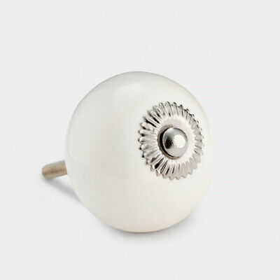 White With Silver Fixings Ceramic Cupboard Drawer Pull Cabinet Door Knob