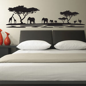 AFRICAN-SAFARI-LANDSCAPE-BEDROOM-LOUNGE-WALL-STICKER-VINYL-TRANSFER-MURAL