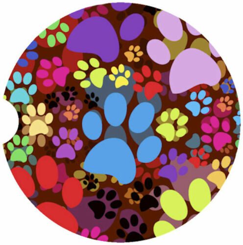 """PAIR 1 /"""" Colorful Puppy Paws/"""" ABSORBENT CAR COASTER"""
