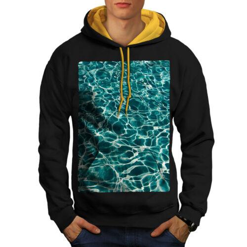 New gold Art Ocean Hood Blue Sea Nature Contrast Hoodie Men Black CqTcgxfwB