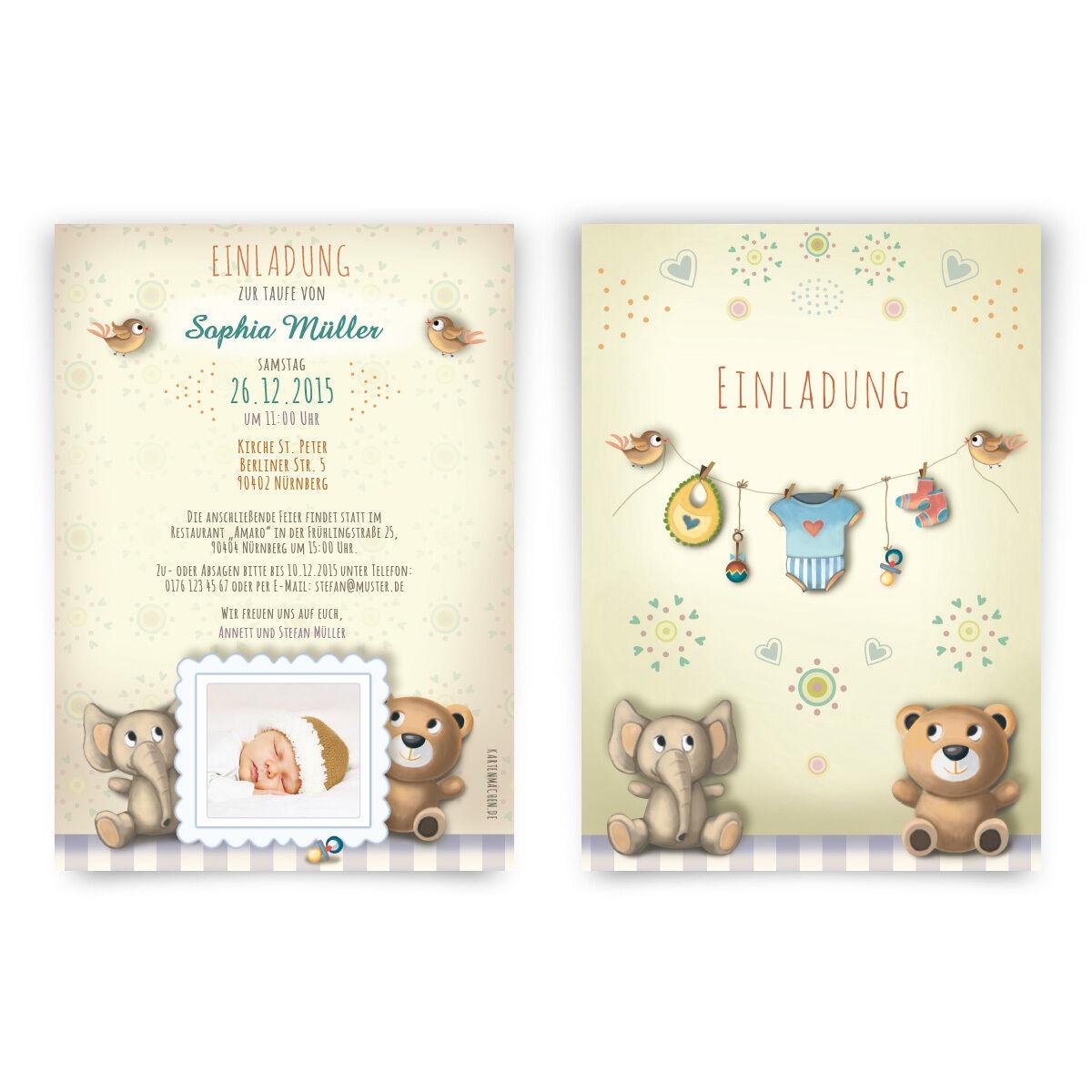 Einladungen zur Taufe Plüschtier Stofftier Teddybär Einladungskarten mit Foto