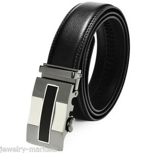 Luxury-Mens-Automatic-Buckle-Black-Leather-Ratchet-Belt-Waist-Strap-Waistband