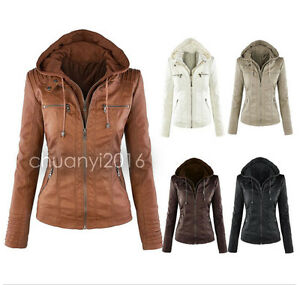 Womens-Leather-Hooded-Jacket-Slim-Motorcycle-Parka-Coat-Overcoat-Trench-Outwear