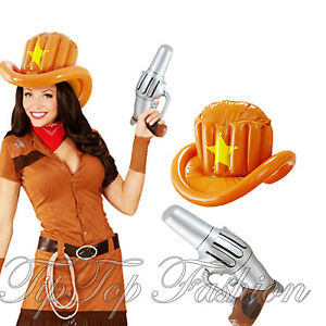 b80c4716041d6 New Inflatable Hat Gun Cowboy Fancy Dress Wild West Indian Sheriff ...
