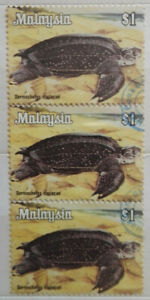 Malaysia-Used-Stamp-3-pcs-1979-1-Animals-Definitive-Stamp-Sea-Turtle