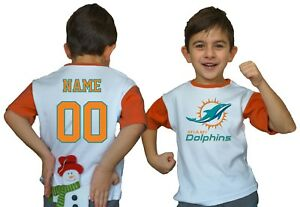 competitive price 9b721 eedee Details about Miami Dolphins Kids Tee Shirt NFL Personalized Logo Youth  Unisex Jersey Game Day