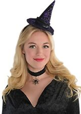 Superb Black Velvet Witch Hat With Purple Belt Halloween Fancy Dress Accessory