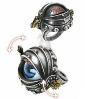 Automaton's Eye Steampunk Eyeball Ring Opening Eyelid R178 Alchemy Empire
