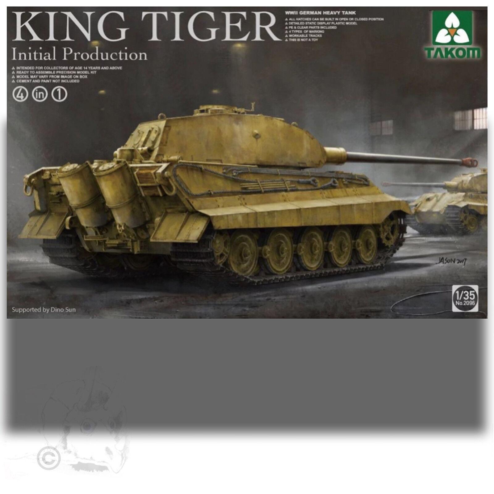 TAKOM 1 35 KING TIGER INITIAL PRODUCT 4 IN 1 MODEL KIT 2096