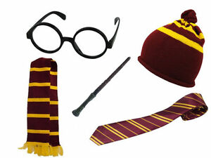 Ninos-Mago-Nino-Gryffindor-Disfraz-Sombrero-Bufanda-Corbata-Gafas-Varita-Lote-Hogwarts