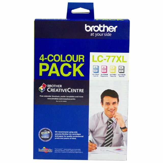 Genuine Brother LC 77XL Ink Cartridges 4 Colour Value Pack  MFC-J5910DW J6910DW