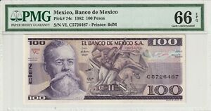 PMG-Certified-Mexico-1982-100-Pesos-Banknote-UNC-66-EPQ-Gem-Pick-74c-US-Seller