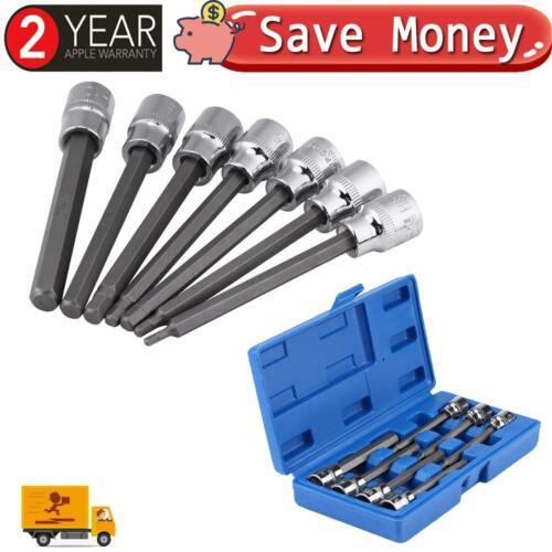 7Pcs Allen Key Socket Bit Spline Hex Set 110mm//3.9in Long Deep 3mm~10 mm Drive