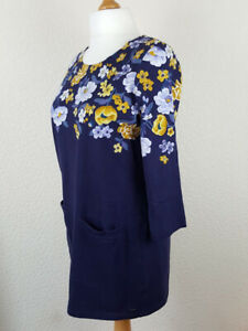 Womans-Blue-Tunic-Shift-Dress-UK16-JOULES-Yellow-Flowers-Pockets-3-4-Sleeve-Boxy