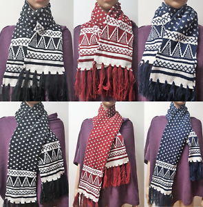 Unisex Fairisle Knitted Scarf Winter Scarves Neck Warmer Knit Tassels