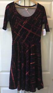 LuLaRoe-Nicole-Dress-Size-XS-Black-Red-Orange-Scoop-Neck-Full-Skirt-New-with-Tag
