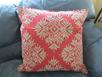Pottery Barn Snowflake Cross-stitch Pillow Cover Red Flax 24