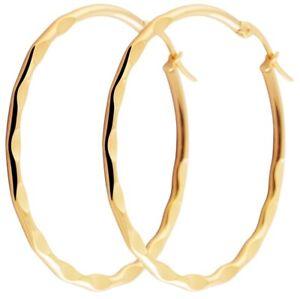 Ohrringe-45mm-Creole-Edelstahl-Gold-exklusiver-Mode-Schmuck-Creolen-034-behauen-034