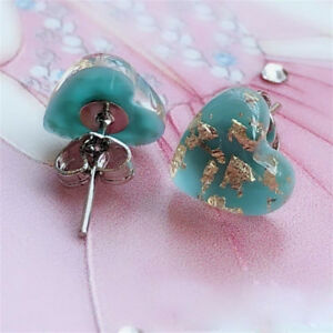 2g-Antique-925-Sterling-Silver-Natural-Gemstone-Turquoise-Heart-Stud-Earrings