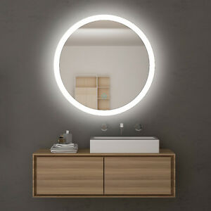 Image Is Loading 840x840mm Round Bathroom Vanity Mirror Led Iighted Touch