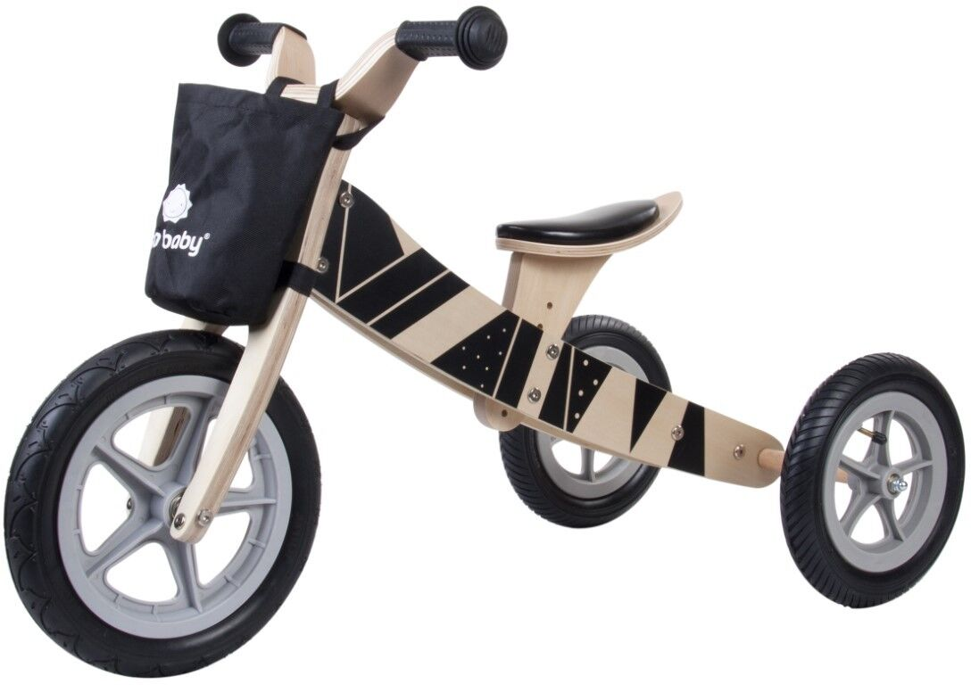 Dreirad Kinderfahrzeug Kinderwagen Fahrrad Holz Kinderfahrrad Laufrad 1a schwarz