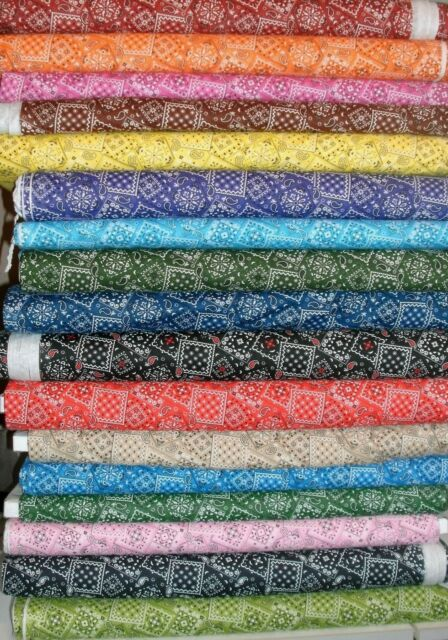 1 Yd. U Choose Bandana Print Blender Quilt Fabric Red Blue Green Yellow