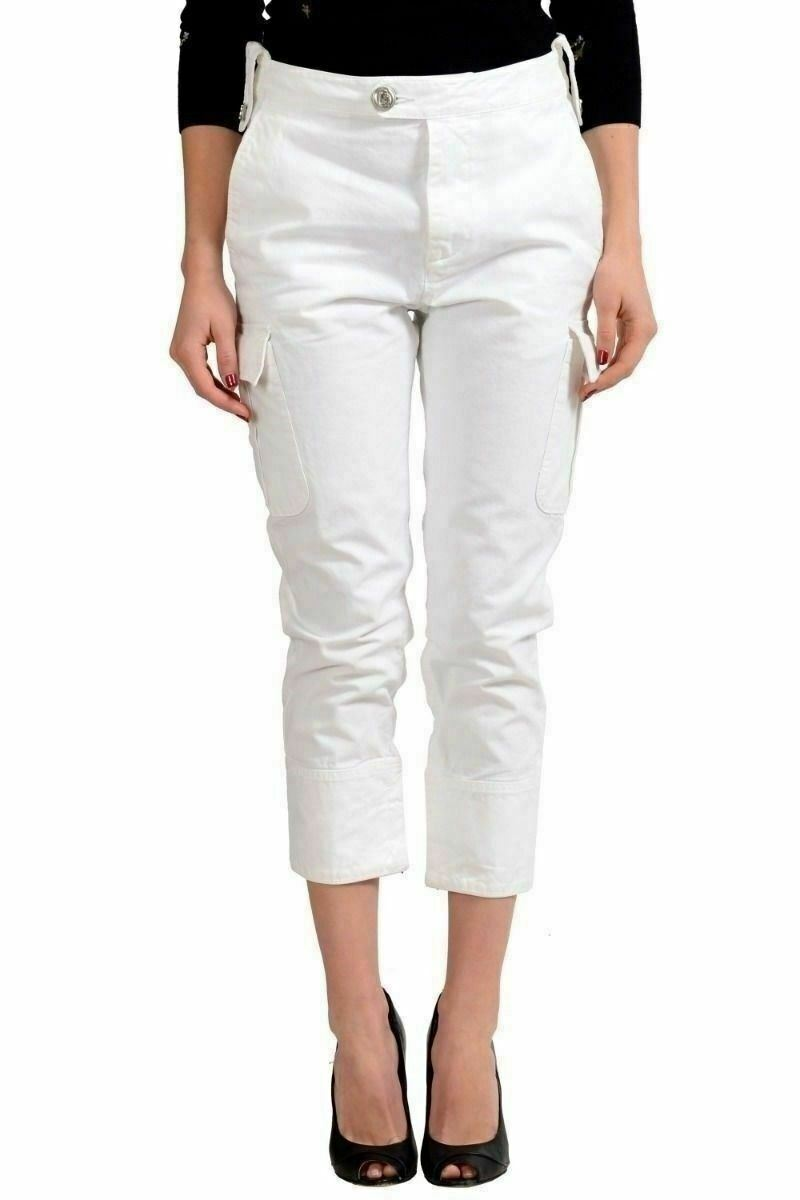Dsquared2 Women's White Cropped Cargo Pants US 4 IT 40