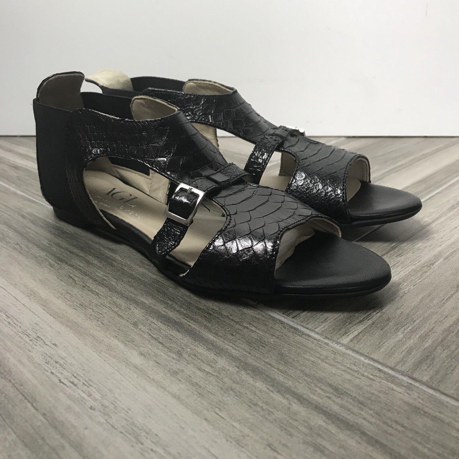 AGL Attilio Giusti Leombruni Black Open Toe Sandals Sz 37.5 Black Snake Texture