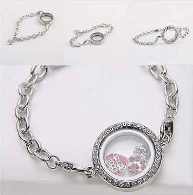 Living Memory Floating Locket Love Round Crystal Charm Silver Bracelet Gift New