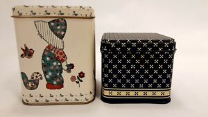 Pair of Blue & Pink Collectible Tins Children w/ Hats Bonnets Storage Container