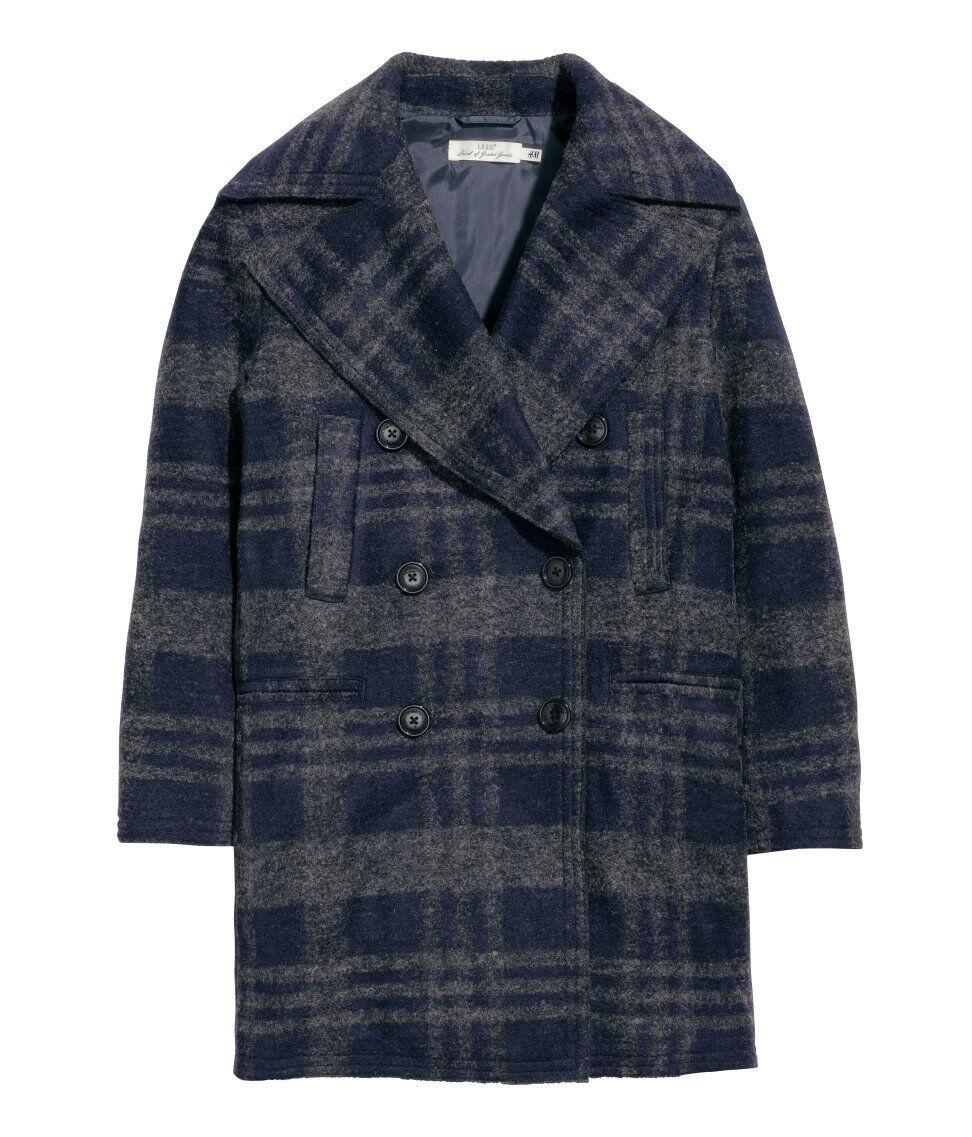 Neu Woll-Mantel Jacke Trenchcoat Gr.44 dunkelblau kariert zu Kleid Rock Schuhe