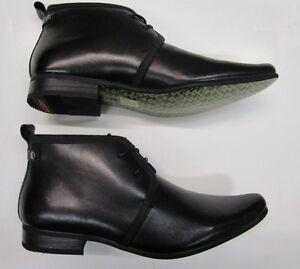 ** SALE** Mens Designer Halland Leather Ankle Lace Up Dress Boots Black UK 6-11